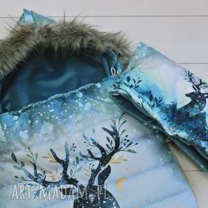 turkusowe dla dziecka śpiworek zimowy jeleń
