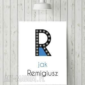 eleganckie dla dziecka obraz świecąca litera r z imieniem