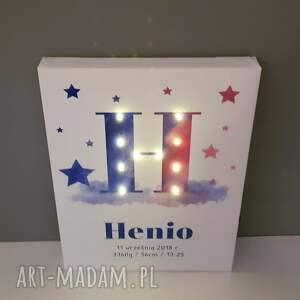 niebieskie dla dziecka roczek świecąca litera led personalizowany