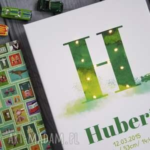 zielone dla dziecka metryczka świecąca imię prezent