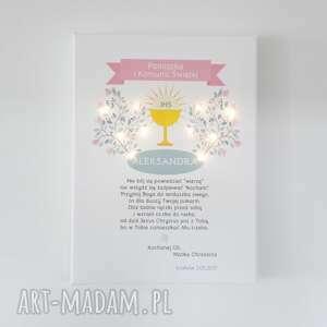 Świecąca Pamiątka Komunii Świętej - pastelowa dekoracja prezent lampka obraz chrzestnej