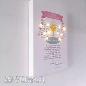Świecąca Pamiątka Komunii Świętej - pastelowa dekoracja prezent lampka obraz