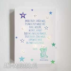 modlitwa dla dziecka turkusowe świecący obraz led anioł