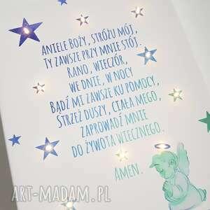 dla dziecka prezent świecący obraz led modlitwa anioł