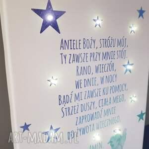 prezent dla dziecka świecący obraz led modlitwa anioł