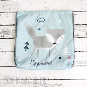 worek dla dziecka niebieskie z imieniem lis