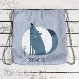 szare dla dziecka plecak worek z imieniem wilk
