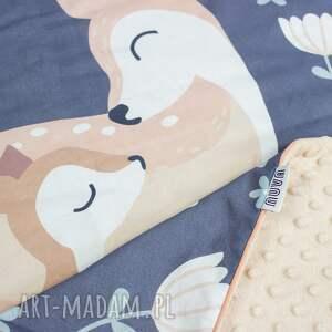 niebieskie dla dziecka dziewczynki zestaw 75x100 kocyk płaska poduszka