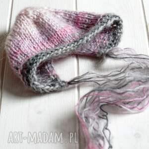 czapeczka dla dziecka zestaw do sesji nb różowe ombre