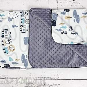 zestaw dla dziecka szare kocyk i płaska poduszka