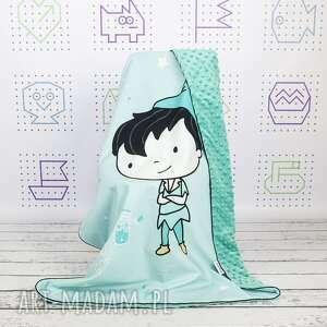 handmade dla dziecka piotruś zestaw kocyk i płaska poduszka