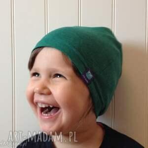 ciekawe dla dziecka czapka zielona bawełniana
