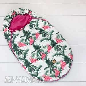 handmade dla dziecka zimowy śpiworek do wózka flamingi 0