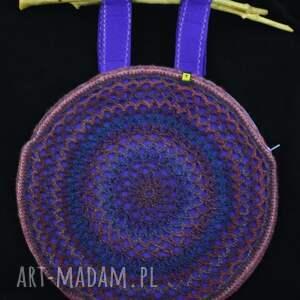 ręcznie robione ażurowa torba we fioletach