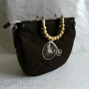 brązowe torba brązowa z haftem - retro