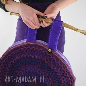 ręcznie robione prezent ażurowa torba we fioletach