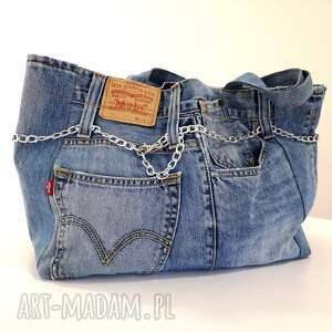 torba duża z jeansu z ozdobnym