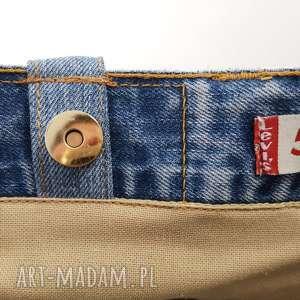 niebieskie torba duża z jeansu z ozdobnym