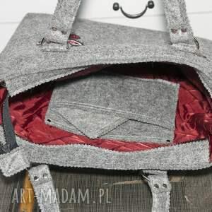 szare do ręki torebka filcowa teczka z motywem góralskim
