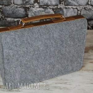 hand made skóra filcowa torba na laptopa