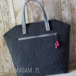 szare do ręki torba filcowa torebka - klasyczna