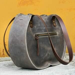 skórzana damska torba szare idealna do biura na dokumenty