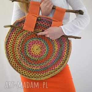 intrygujące do ręki torba kolorowa ażurowa