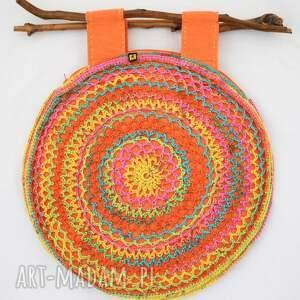 do ręki wiosenna kolorowa torba ażurowa