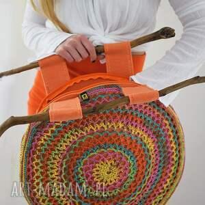 żółte do ręki torebka kolorowa torba ażurowa