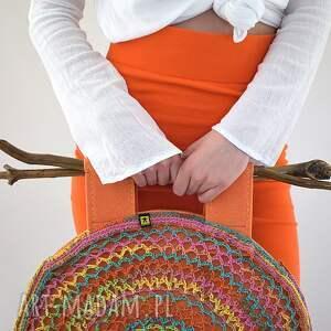 torba pomarańczowe kolorowa ażurowa