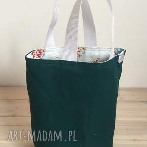 handmade śniadanie lunchbag zielone kwiatki
