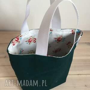 różowe torebka lunchbag zielone kwiatki