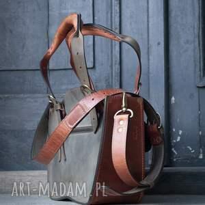mała podręczna stylowa torebka kuferek w pięknych kolorach khaki i rudy trzy rozmiary