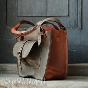 Ladybuq Art Studio mała podręczna stylowa torebka kuferek w pięknych kolorach khaki i rudy