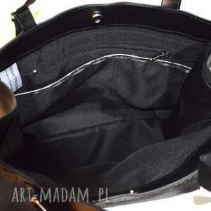Skórzana torebka, czarno szara, błyszcząca, shooper - torba