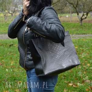 handmade torba do ręki skórzana torebka, czarno szara