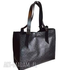 PMPB Style Skórzana torebka, czarno szara, błyszcząca, shooper - torba ze skóry