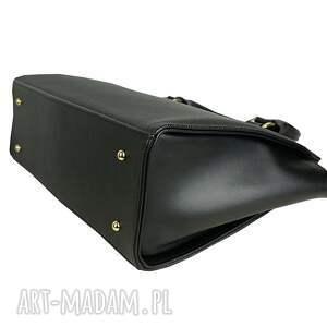 Sztywna Torebka Kuferek A4 trapez czarna skóra naturalna, gruba, masywna skora