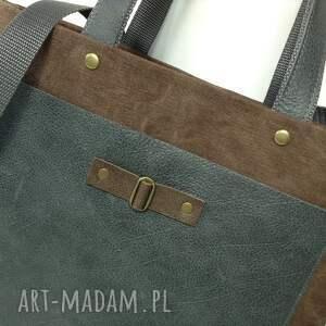 szare torba wykonana z mocnego materiału (canvas)