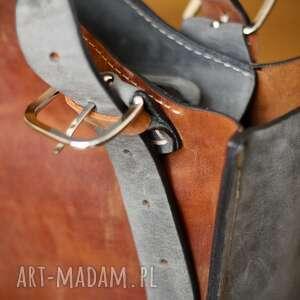 Ladybuq Art Studio torba na ramię z naturalnej skóry rudo szary kuferek idealna do biura na laptopa