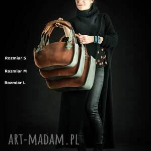 Ladybuq Art Studio torba na ramię z naturalnej skóry rudo szary kuferek idealna do biura torebka
