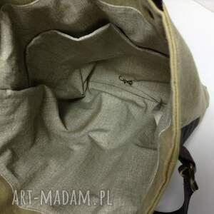 brązowe torba duża i pojemna uszyta z grubego i mocnego