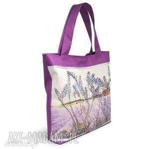 torba , torebka z motywem lawendyi