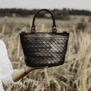 czarne skóra naturalna torebka łuska koszyk, czarna