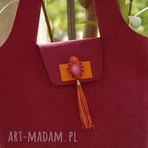 różowe do ręki soutache torebka z filcu