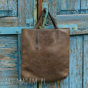 ręcznie zrobione duża torebka worek skórzany