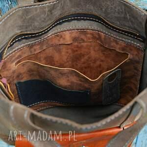 brązowe duża torebka worek skórzany