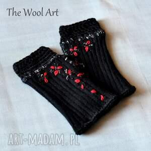 czarne dodatki mitenki rękawiczki