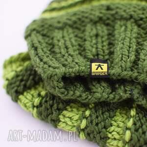 dodatki czapka zielony luźny komplet - czapa