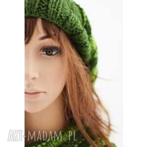 niekonwencjonalne dodatki czapka zielony luźny komplet - czapa